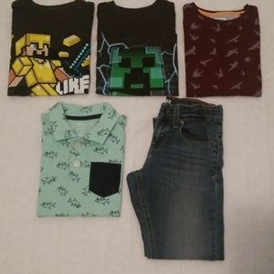 Boy's Bundle Graphic T's, Collard Shirt & Jeans
